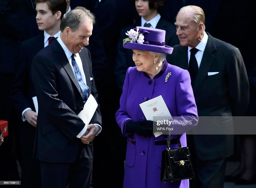 David Armstrong-Jones speaks to Queen Elizabeth II and Prince Philip, Duke of Edinburgh as they leave a Service of Thanksgiving for the life and work of Lord Snowdon at Westminster Abbey on April 7, 2017 in London, United Kingdom.
