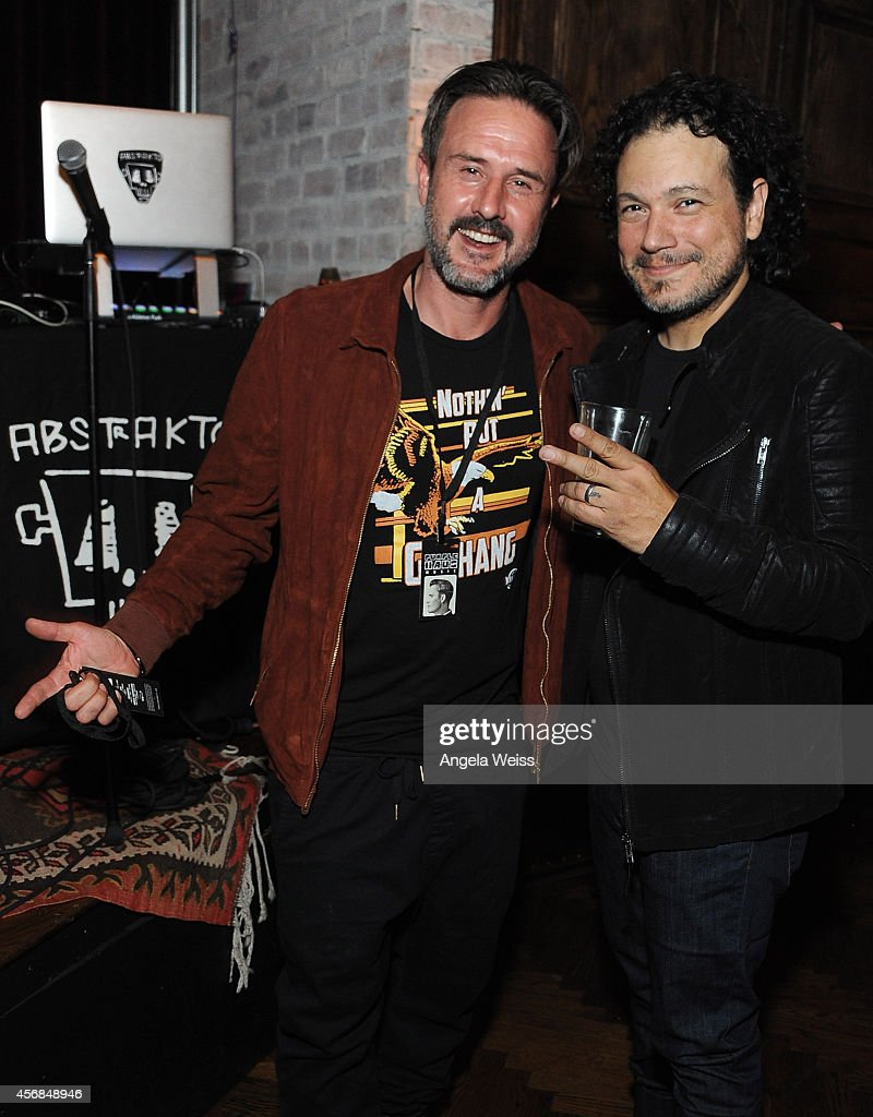 David Arquette and Asdru Sierra of ABSTRAKTO attend the Balthazar Getty and Spotify present a Night with PurpleHaus Music event on October 7 2014 in...