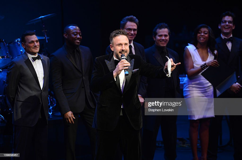 David Arquette (C) speaks onstage with Phillip Bloch, Omar Epps, Tim Daly, John Leguizamo, Taraji P. Henson, and Matt Bomer at The Creative Coalition's 2013 Inaugural Ball at the Harman Center for the Arts on January 21, 2013 in Washington, United States.