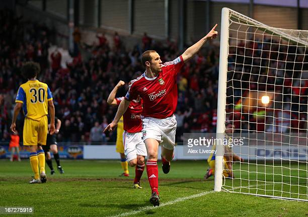 David Artell of Wrexham celebrates after scoring the opening goal during the Blue Square Bet Premier Division Playoff SemiFinal First Leg match...