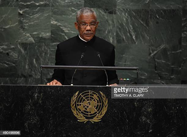 David Arthur Granger President of Guyana addresses the 70th Session of the UN General Assembly September 29 2015 in New York AFP PHOTO / TIMOTHY A...