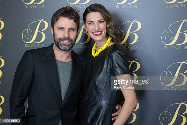 David Ascanio and model Laura Sanchez attend 'Billion Club' opening party on December 4 2014 in Madrid Spain