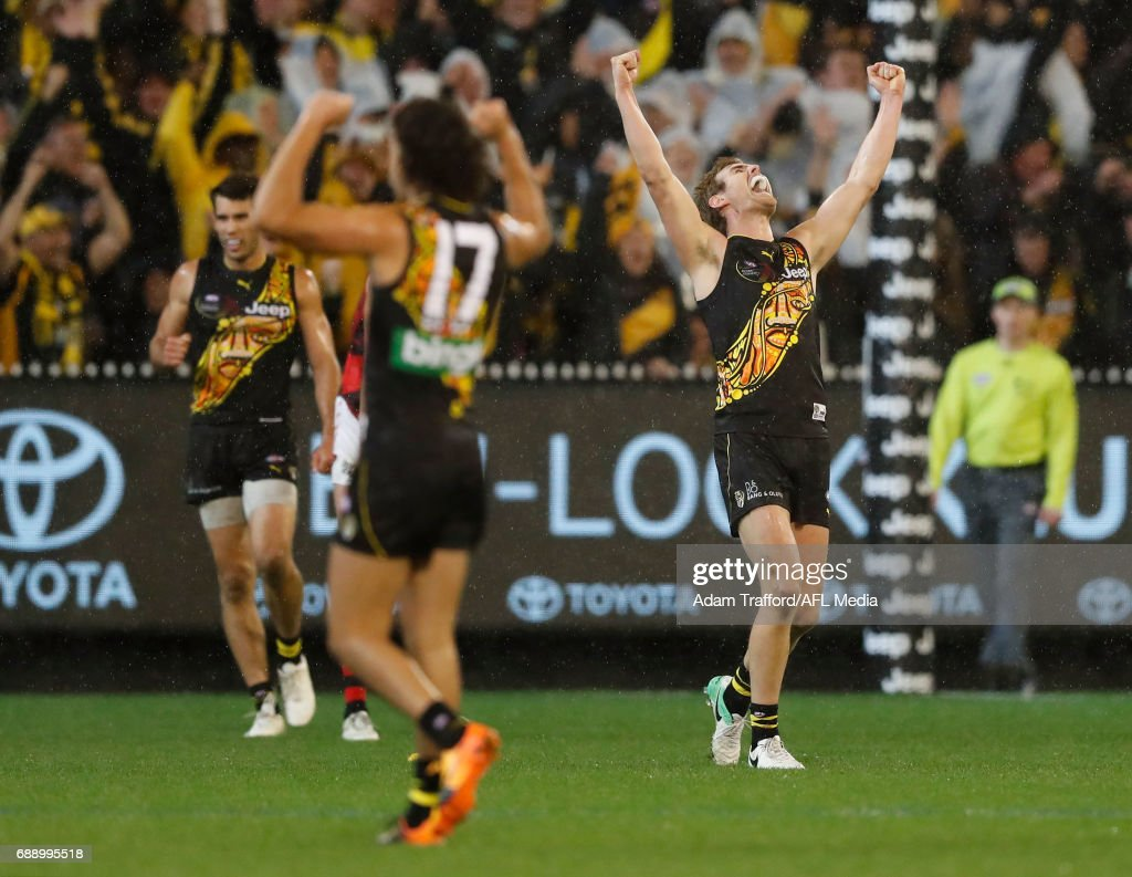 David Astbury of the Tigers celebrates on the final siren during the 2017 AFL round 10 Dreamtime at the G match between the Richmond Tigers and the Essendon Bombers at the Melbourne Cricket Ground on May 27, 2017 in Melbourne, Australia.