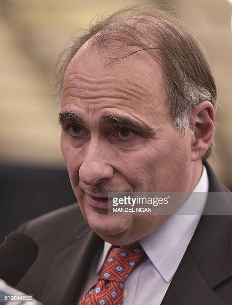 David Axelrod former senior advisor to US President Barack Obama is seen after Obama took part in a discussion on the Supreme Court and the country's...