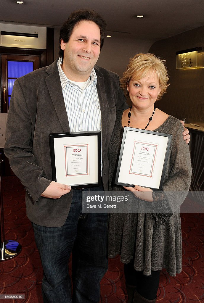 David Babani and Maria Friedman, accepting the Peter Hepple Award for Best Musical on behalf of 'Merrily We Roll Along', attends the 2013 Critics' Circle Theatre Awards at the Prince Of Wales Theatre on January 15, 2013 in London, England.