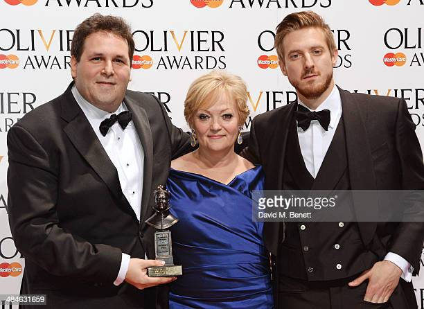 David Babani and Maria Friedman winners of the Best Musical Revival award for 'Merrily We Roll Along' and Arthur Darvill pose in the press room at...