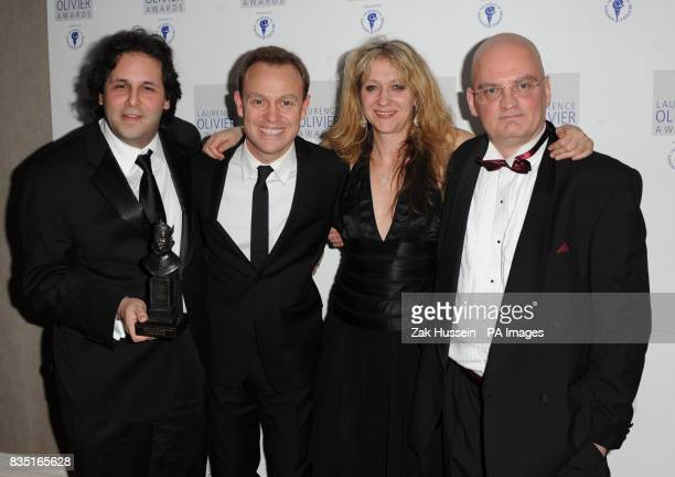 David Babani Terry Johnson and Sonia Friedman win the Best Musical Revival Award for La Cage Aux Folles presented by Jason Donovan during the...