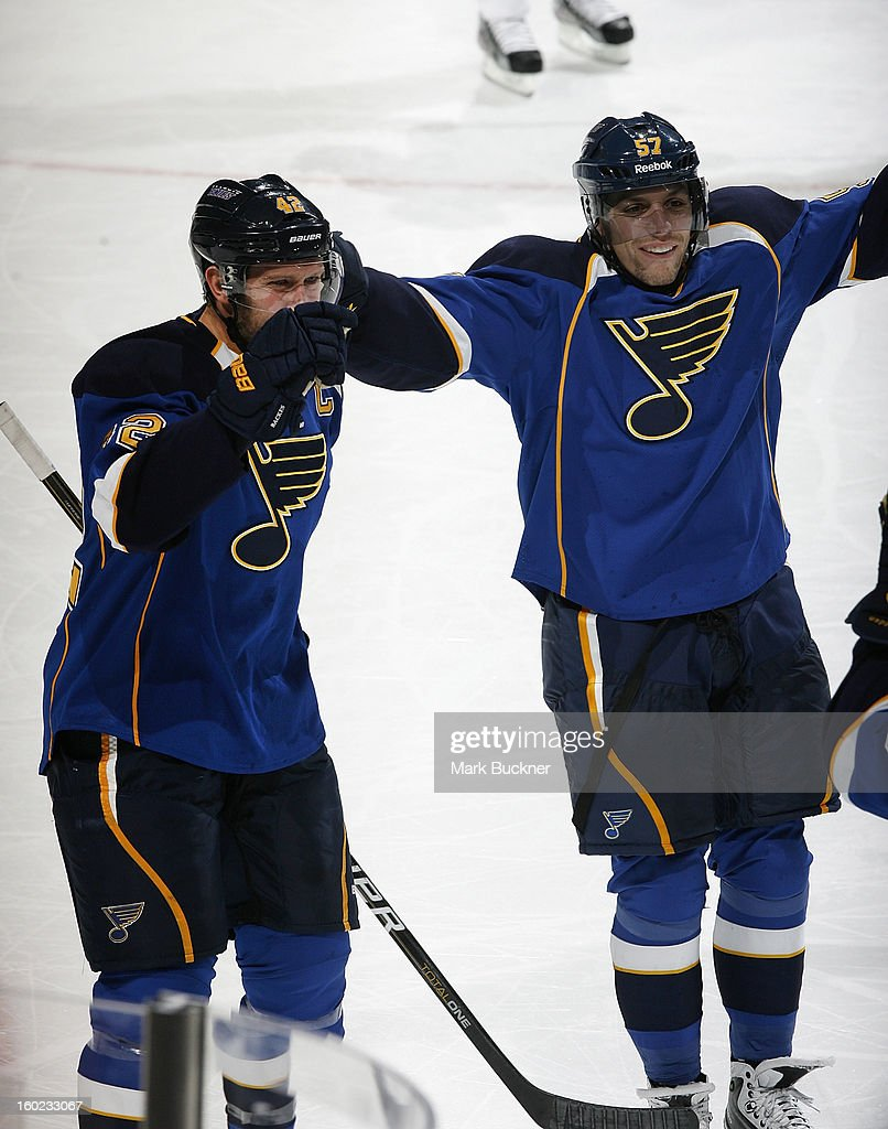 David Backes #42 and David Perron #57 of the St. Louis Blues celebrate a goal in an NHL game against the Minnesota Wild on January 27, 2013 at Scottrade Center in St. Louis, Missouri.