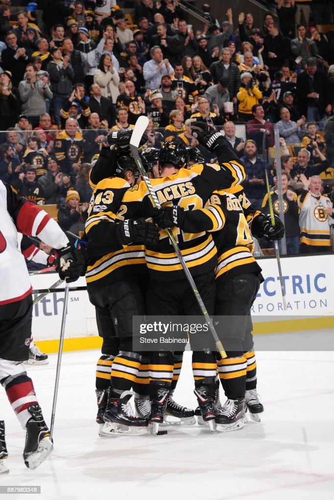 David Backes #42 of the Boston Bruins celebrates his second goal in the second period against the Arizona Coyotes at the TD Garden on December 7, 2017 in Boston, Massachusetts.