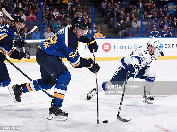 David Backes of the St Louis Blues attempts to clear the the puck as Nikita Kucherov of the Tampa Bay Lightning pressures on October 27 2015 at...