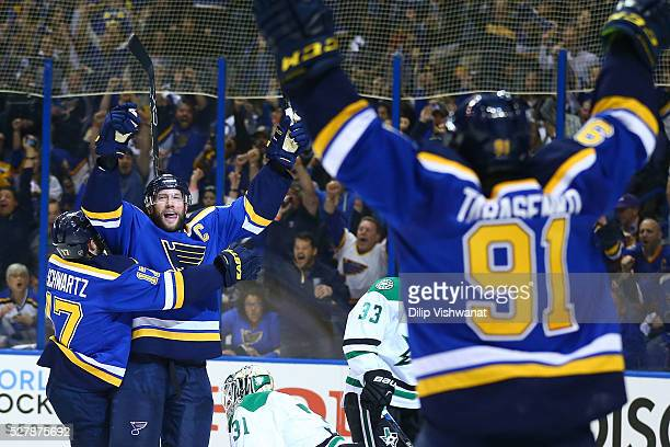 David Backes of the St Louis Blues celebrates a goal against the Dallas Stars in Game Three of the Western Conference Second Round during the 2016...