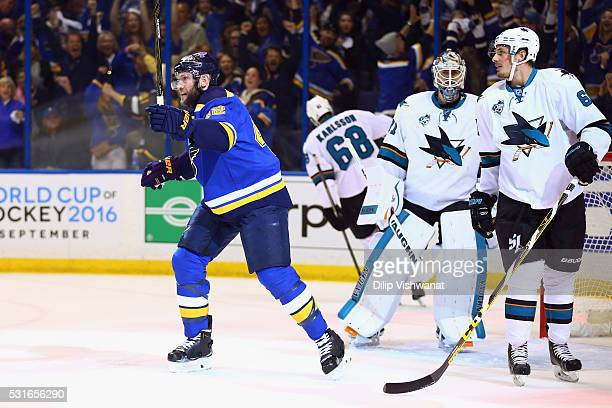 David Backes of the St Louis Blues celebrates after scoring a first period goal against Martin Jones of the San Jose Sharks in Game One of the...