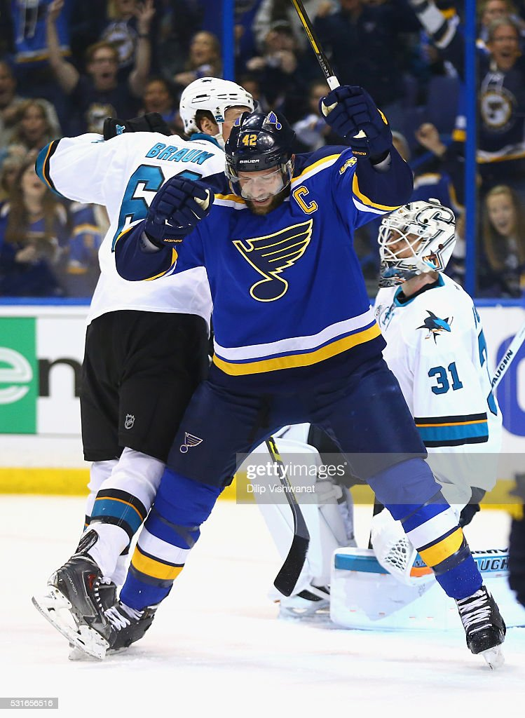 David Backes #42 of the St. Louis Blues celebrates after scoring a first period goal against Martin Jones #31 of the San Jose Sharks in Game One of the Western Conference Final during the 2016 NHL Stanley Cup Playoffs at Scottrade Center on May 15, 2016 in St Louis, Missouri.