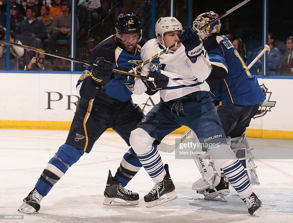 <a gi-track='captionPersonalityLinkClicked' href=/galleries/search?phrase=David+Backes&family=editorial&specificpeople=2538492 ng-click='$event.stopPropagation()'>David Backes</a> #42 of the St. Louis Blues gets physical with James van Riemsdyk #21 of the Toronto Maple Leafs during an NHL game on December 12, 2013 at Scottrade Center in St. Louis, Missouri.