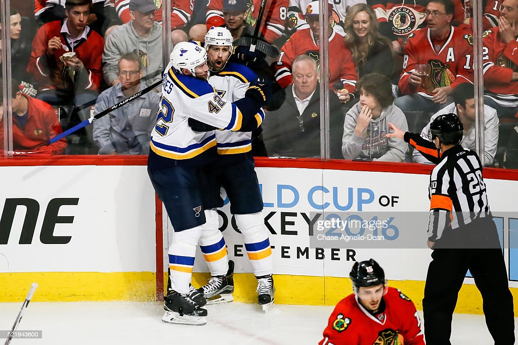 David Backes #42 of the St. Louis Blues hugs Patrik Berglund #21 after Berglund scored against the Chicago Blackhawks in the third period of Game Three of the Western Conference Quarterfinals during the 2016 NHL Stanley Cup Playoffs at the United Center on April 17, 2016 in Chicago, Illinois.