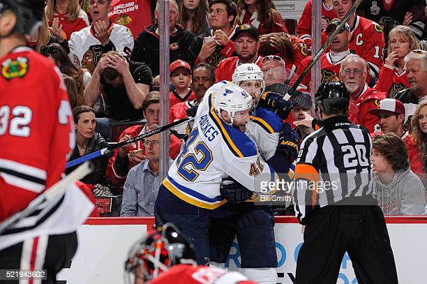 David Backes of the St Louis Blues hugs Patrik Berglund after Berglund scored against the Chicago Blackhawks in the third period of Game Three of the...