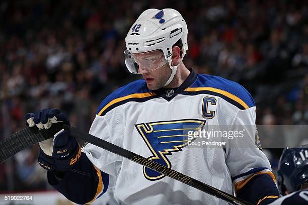 David Backes of the St Louis Blues inspects his stick as he faces the Colorado Avalanche at Pepsi Center on April 3 2016 in Denver Colorado The Blues...