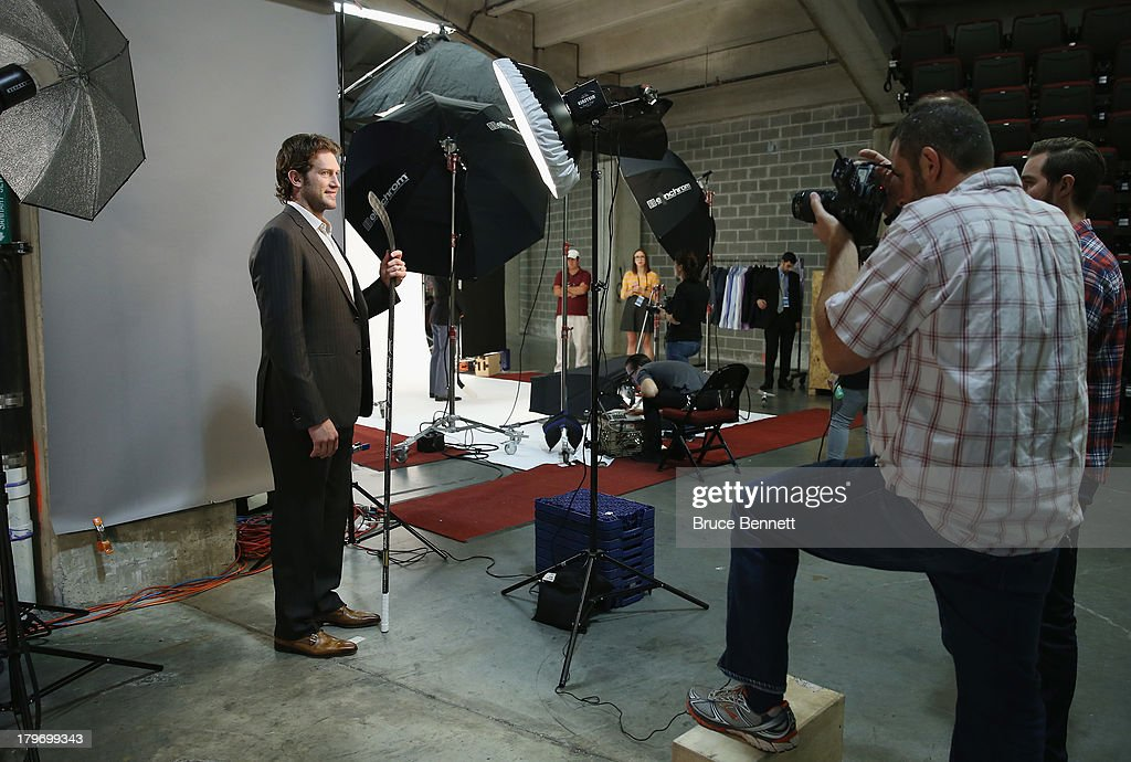 David Backes of the St. Louis Blues is photographed in a portrait session during the National Hockey League Player Media Tour at the Prudential Center on September 6, 2013 in Newark, New Jersey.