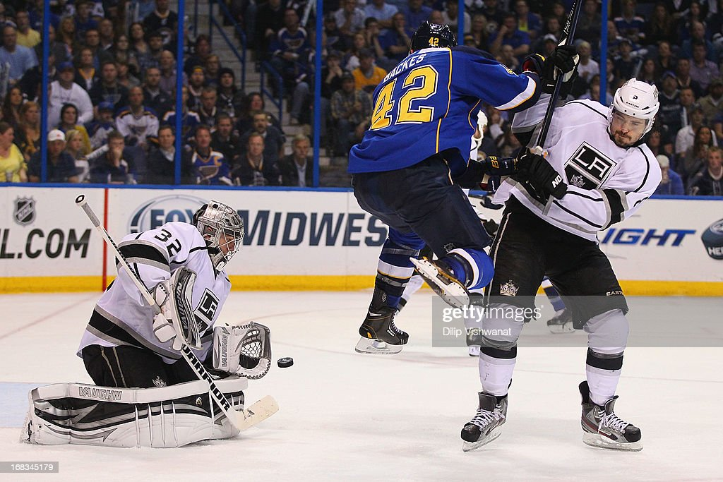 <a gi-track='captionPersonalityLinkClicked' href=/galleries/search?phrase=David+Backes&family=editorial&specificpeople=2538492 ng-click='$event.stopPropagation()'>David Backes</a> #42 of the St. Louis Blues jumps out of the way of a shot on goal against <a gi-track='captionPersonalityLinkClicked' href=/galleries/search?phrase=Drew+Doughty&family=editorial&specificpeople=2085761 ng-click='$event.stopPropagation()'>Drew Doughty</a> #8 of the Los Angeles Kings as <a gi-track='captionPersonalityLinkClicked' href=/galleries/search?phrase=Jonathan+Quick&family=editorial&specificpeople=2271852 ng-click='$event.stopPropagation()'>Jonathan Quick</a> #32 of the Los Angeles Kings makes a save in Game Five of the Western Conference Quarterfinals during the 2013 NHL Stanley Cup Playoffs at the Scottrade Center on May 8, 2013 in St. Louis, Missouri.