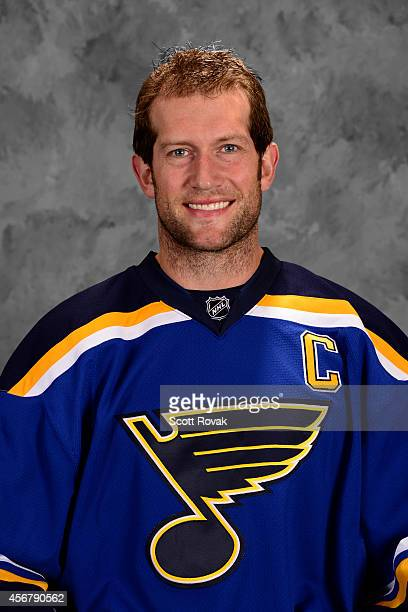David Backes of the St Louis Blues poses for his official headshot for the 20142015 season on September 18 2014 in St Louis Missouri