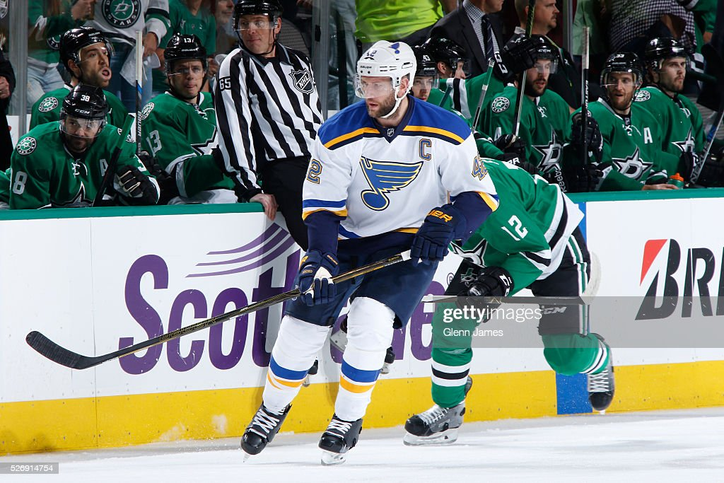 David Backes #42 of the St. Louis Blues skates against the Dallas Stars in Game Two of the Western Conference Second Round during the 2016 NHL Stanley Cup Playoffs at the American Airlines Center on May 1, 2016 in Dallas, Texas.
