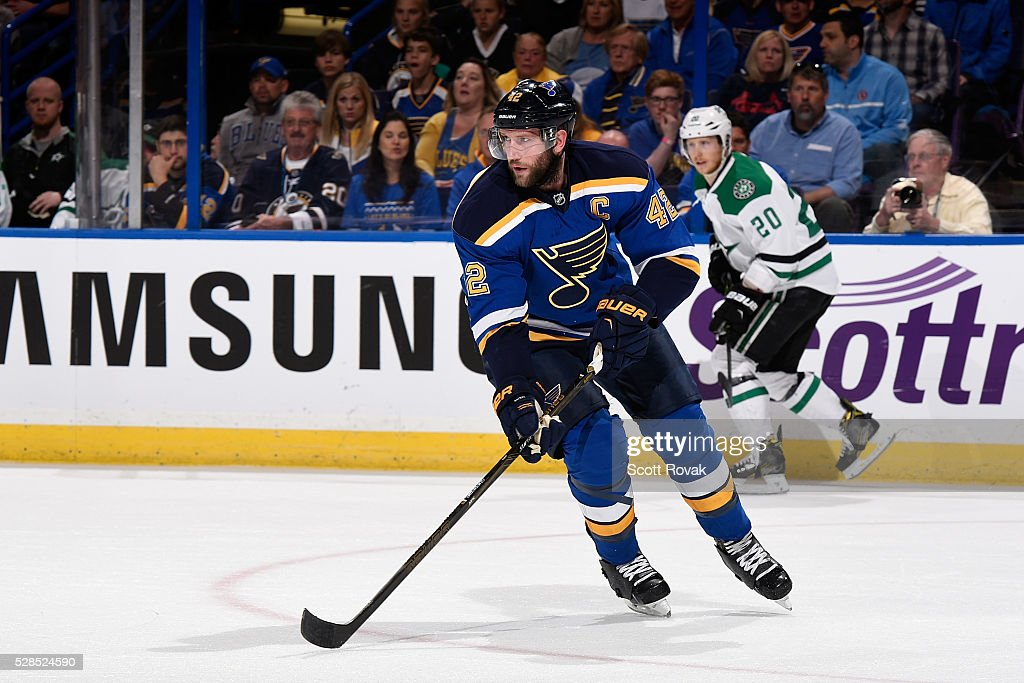 <a gi-track='captionPersonalityLinkClicked' href=/galleries/search?phrase=David+Backes&family=editorial&specificpeople=2538492 ng-click='$event.stopPropagation()'>David Backes</a> #42 of the St. Louis Blues skates against the Dallas Stars in Game Four of the Western Conference Second Round during the 2016 NHL Stanley Cup Playoffs at the Scottrade Center on May 5, 2016 in St. Louis, Missouri.