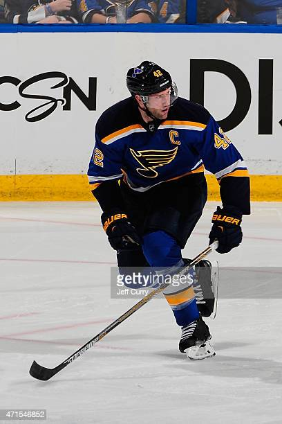 David Backes of the St Louis Blues skates against the Minnesota Wild in Game One of the Western Conference Quarterfinals during the 2015 NHL Stanley...