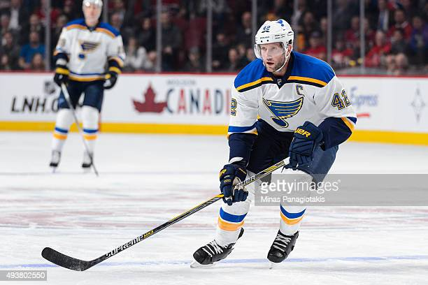 David Backes of the St Louis Blues skates during the NHL game against the Montreal Canadiens at the Bell Centre on October 20 2015 in Montreal Quebec...