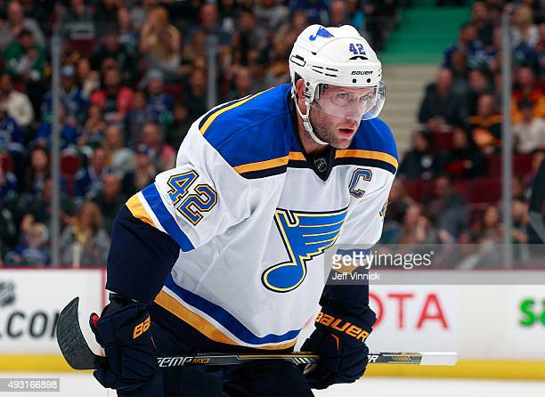 David Backes of the St Louis Blues skates up ice during their NHL game against the Vancouver Canucks at Rogers Arena October 16 2015 in Vancouver...