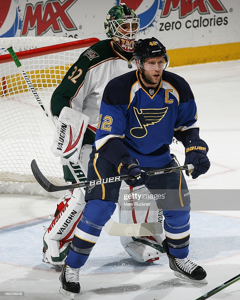 David Backes #42 of the St. Louis Blues takes position in front of Niklas Backstrom #32 of the Minnesota Wild in an NHL game on January 27, 2013 at Scottrade Center in St. Louis, Missouri.