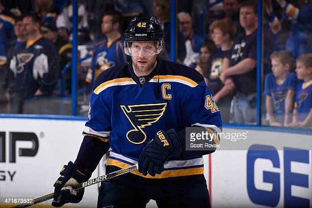 David Backes of the St Louis Blues warms up before Game Two of the Western Conference Quarterfinals against the Minnesota Wild during the 2015 NHL...