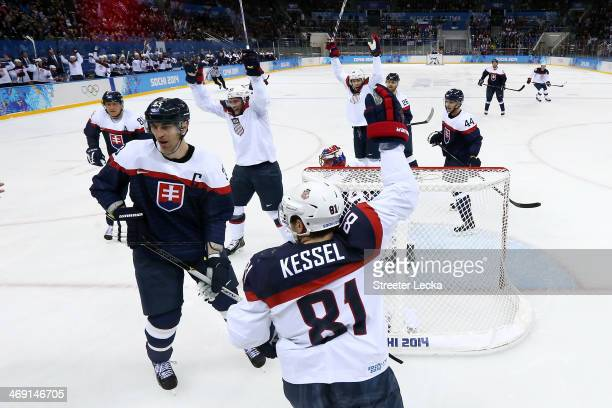 David Backes of United States scores a goal against Jaroslav Halak of Slovakia in the second period during the Men's Ice Hockey Preliminary Round...