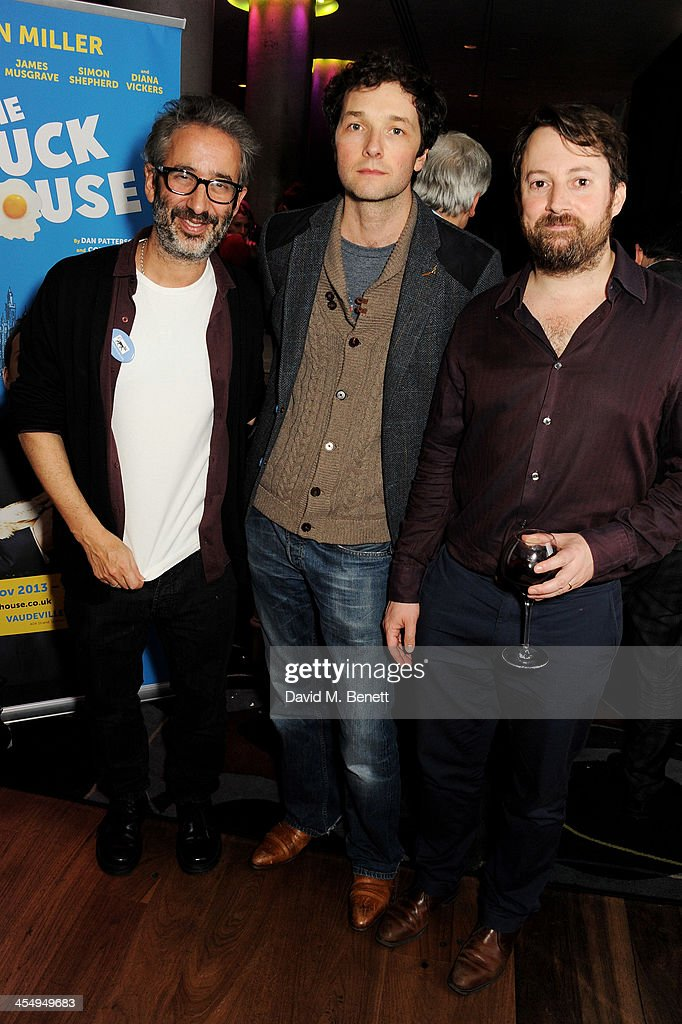 <a gi-track='captionPersonalityLinkClicked' href=/galleries/search?phrase=David+Baddiel&family=editorial&specificpeople=220869 ng-click='$event.stopPropagation()'>David Baddiel</a>, Chris Addison and David Mitchell attend an after party celebrating the press night performance of 'The Duck House' at The Trafalgar Hotel on December 10, 2013 in London, England.