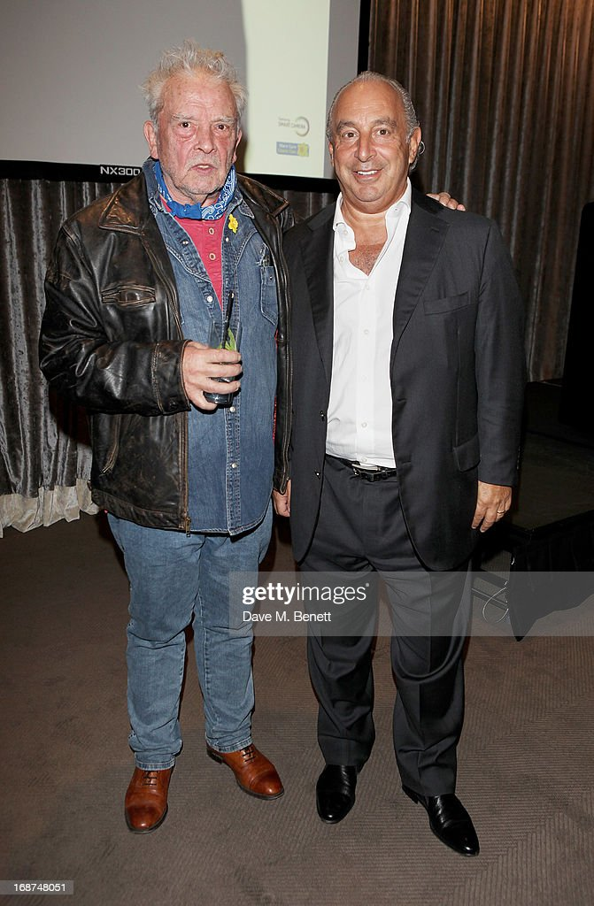 David Bailey (L) and Sir <a gi-track='captionPersonalityLinkClicked' href=/galleries/search?phrase=Philip+Green+-+British+Businessman&family=editorial&specificpeople=220418 ng-click='$event.stopPropagation()'>Philip Green</a> attend the launch of Samsung's NX Smart Camera at a charity auction with David Bailey in aid of Marie Curie Cancer Care at the Bulgari Hotel on May 14, 2013 in London, England.