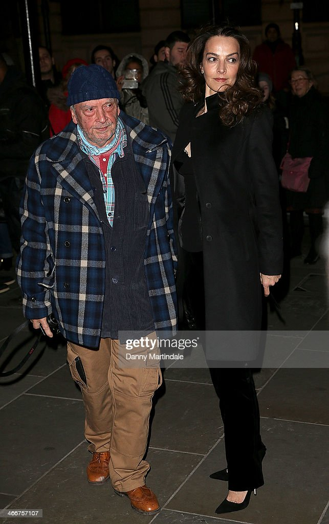 David Bailey and wife <a gi-track='captionPersonalityLinkClicked' href=/galleries/search?phrase=Catherine+Bailey&family=editorial&specificpeople=242863 ng-click='$event.stopPropagation()'>Catherine Bailey</a> attend the VIP private view of David Bailey: Bailey's Stardust at National Portrait Gallery on February 3, 2014 in London, England.