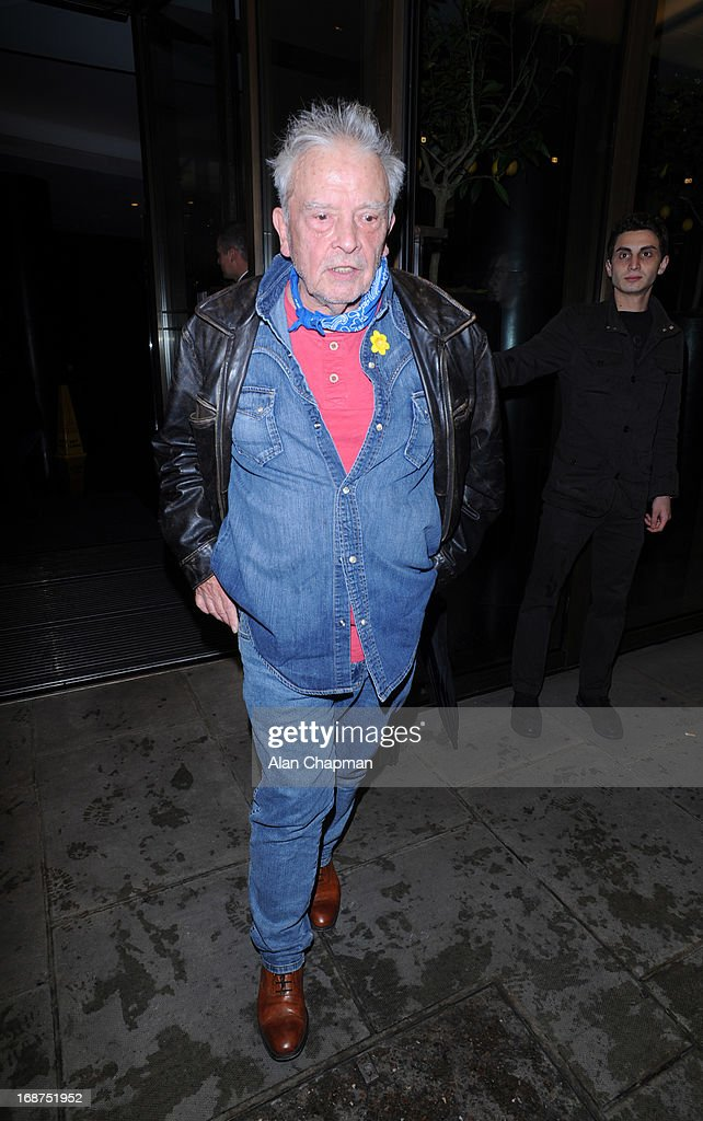 David Bailey sighting leaving the Bulgari Hotel following the Marie Curie charity auction the Bulgari Hotel for the Marie Curie charity auction on May 14, 2013 in London, England.