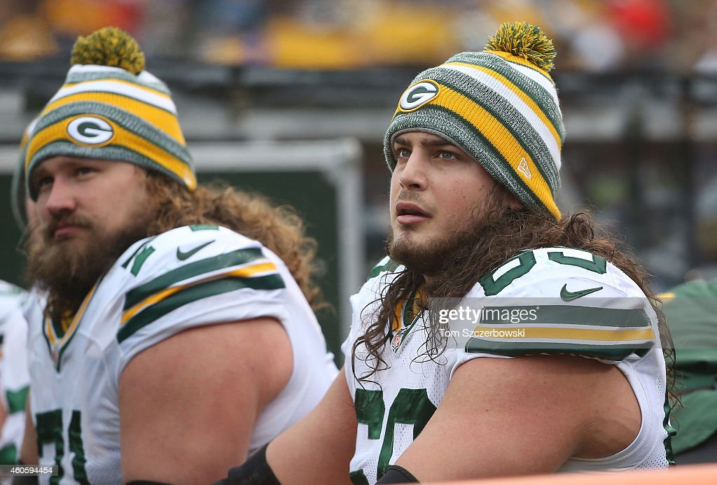 <a gi-track='captionPersonalityLinkClicked' href=/galleries/search?phrase=David+Bakhtiari&family=editorial&specificpeople=7172739 ng-click='$event.stopPropagation()'>David Bakhtiari</a> #69 of the Green Bay Packers looks on from the bench during NFL game action against the Buffalo Bills at Ralph Wilson Stadium on December 14, 2014 in Orchard Park, New York.
