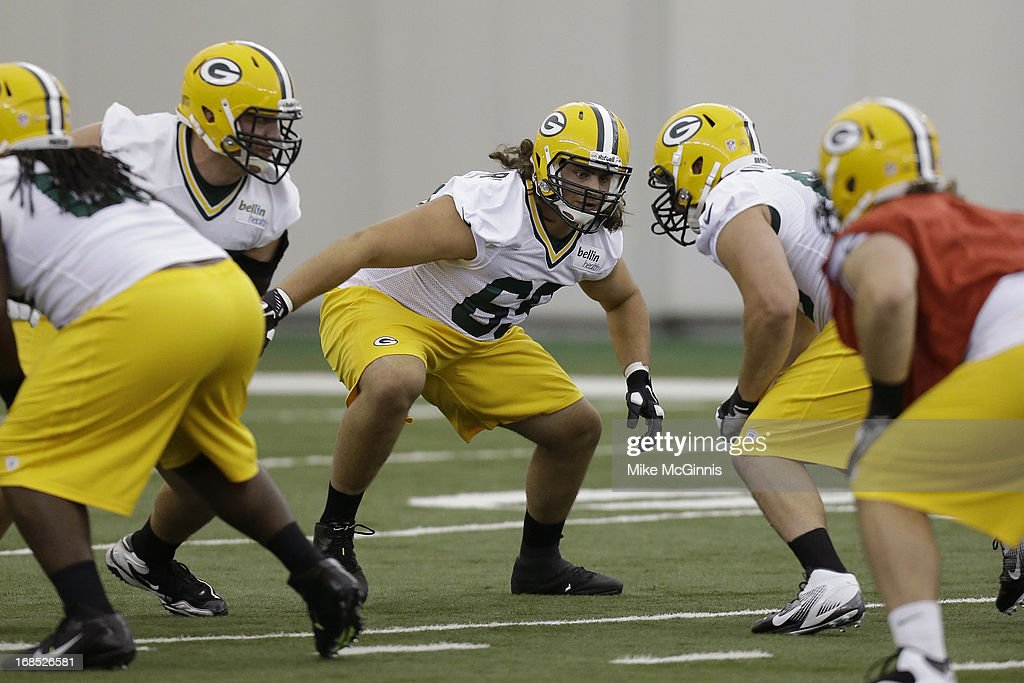 David Bakhtiari #69 of the Green Bay Packers runs through some offensive line drills during rookie camp at the Don Hutson Center on May 10, 2013 in Green Bay, Wisconsin.