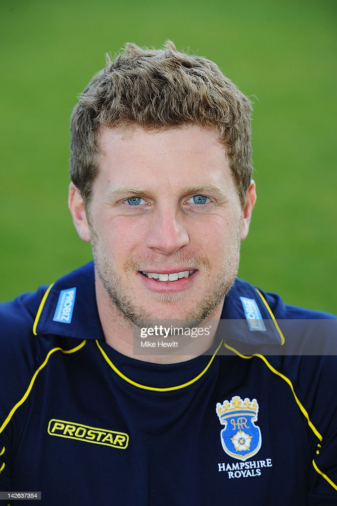 David Balcombe of Hampshire poses for a portrait in CB40 kit during the Hampshire CCC Photocall at the Rosebowl on April 10, 2012 in Southampton, England.