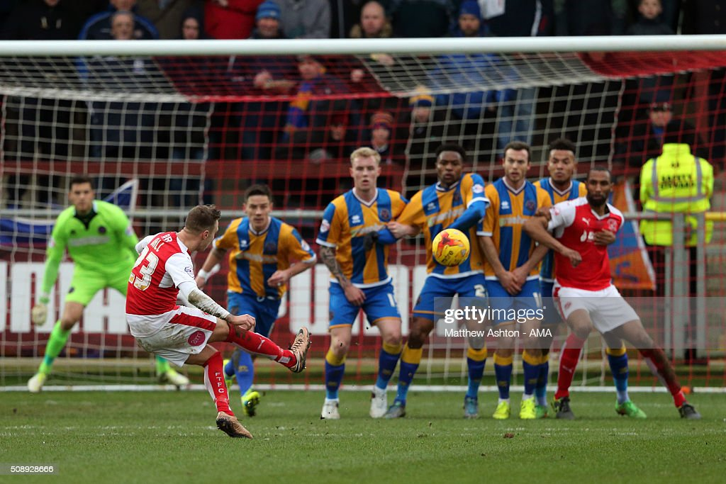 David Ball of Fleetwood Town takes a free kick during the Sky Bet League One match between Fleetwood Town and Shrewsbury Town at Highbury Stadium on February 7, 2016 in Fleetwood, England.