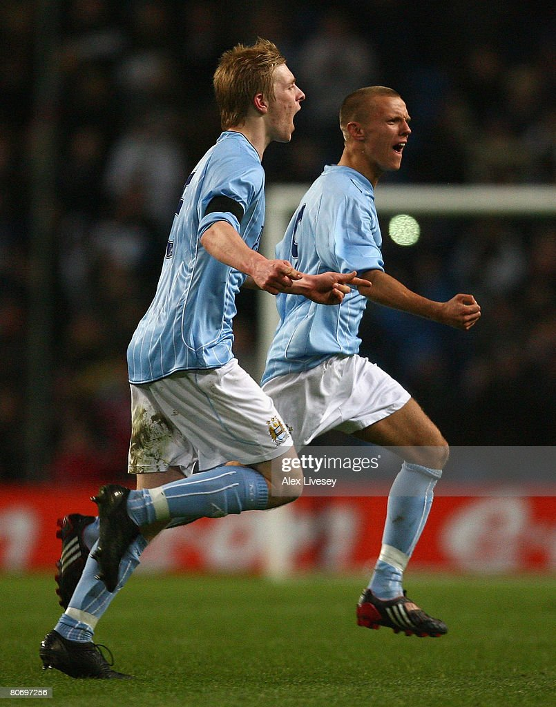 David Ball of Manchester City celebrates his goal with Ben Mee during the FA Youth Cup Final 2nd Leg match between Manchester City and Chelsea at the...