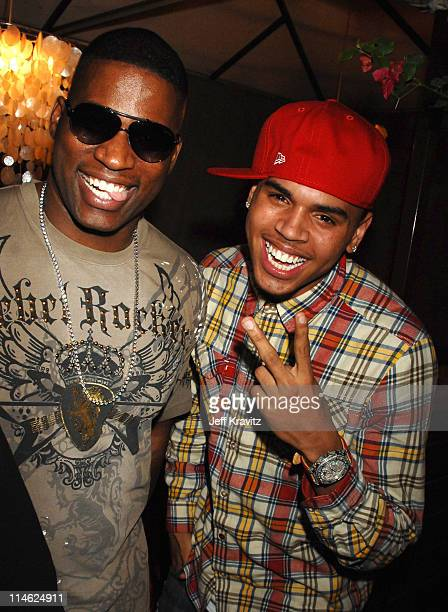 David Banner and Chris Brown at the 'This Christmas' premiere after party at the Cinerama Dome on November 12 2007 in Hollywood California