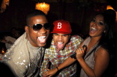 David Banner Chris Brown and Lauren London at the 'This Christmas' premiere after party at the Cinerama Dome on November 12 2007 in Hollywood...