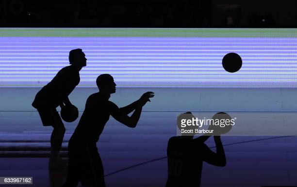 David Barlow and Josh Boone of United warm up during the round 18 NBL match between Melbourne United and the Illawarra Hawks at Hisense Arena on...