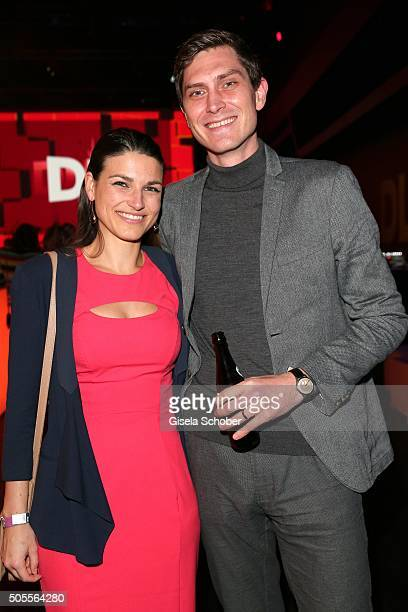 David Barnwell International Editor at Storyboard GmbH and his wife Beatrice Barnwell during the DLD16 party at BMW World on January 18 2016 in...