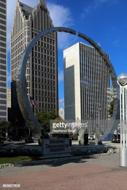 David Barr and Sergio De Giusti's 'Transcending' sculpture sits in Hart Plaza in Detroit Michigan on October 13 2017 MANDATORY MENTION OF THE ARTIST...