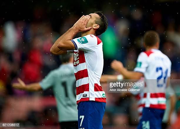 David Barral of Granada CF reacts during the match between Granada CF vs Deportivo La Coruna as part of La Liga at Nuevo los Carmenes Stadiumon...