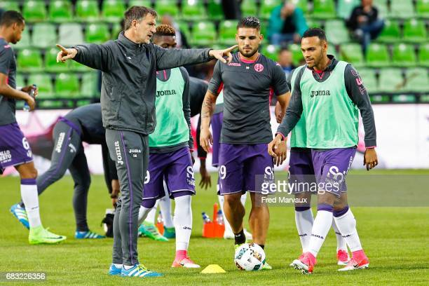 David Barriac of Toulouse and Andy Delort of Toulouse and Martin Braithwaite of Toulouse during the Ligue 1 match between FC Metz and Toulouse FC at...