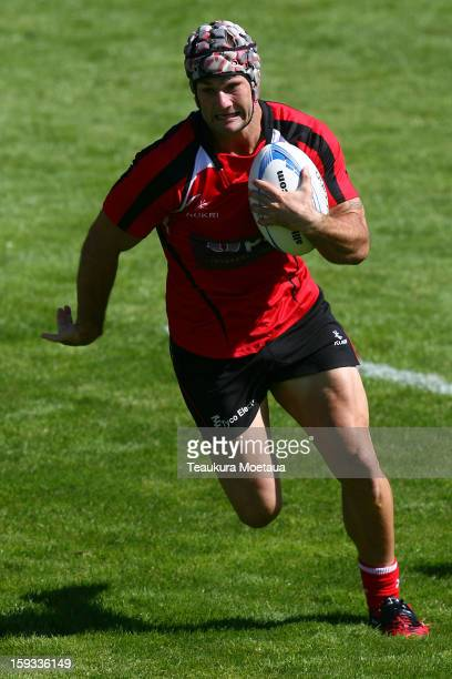 David Bason of Counties Manukau makes a break Taranaki during the National Rugby Sevens at Queenstown Recreation Ground on January 12 2013 in...