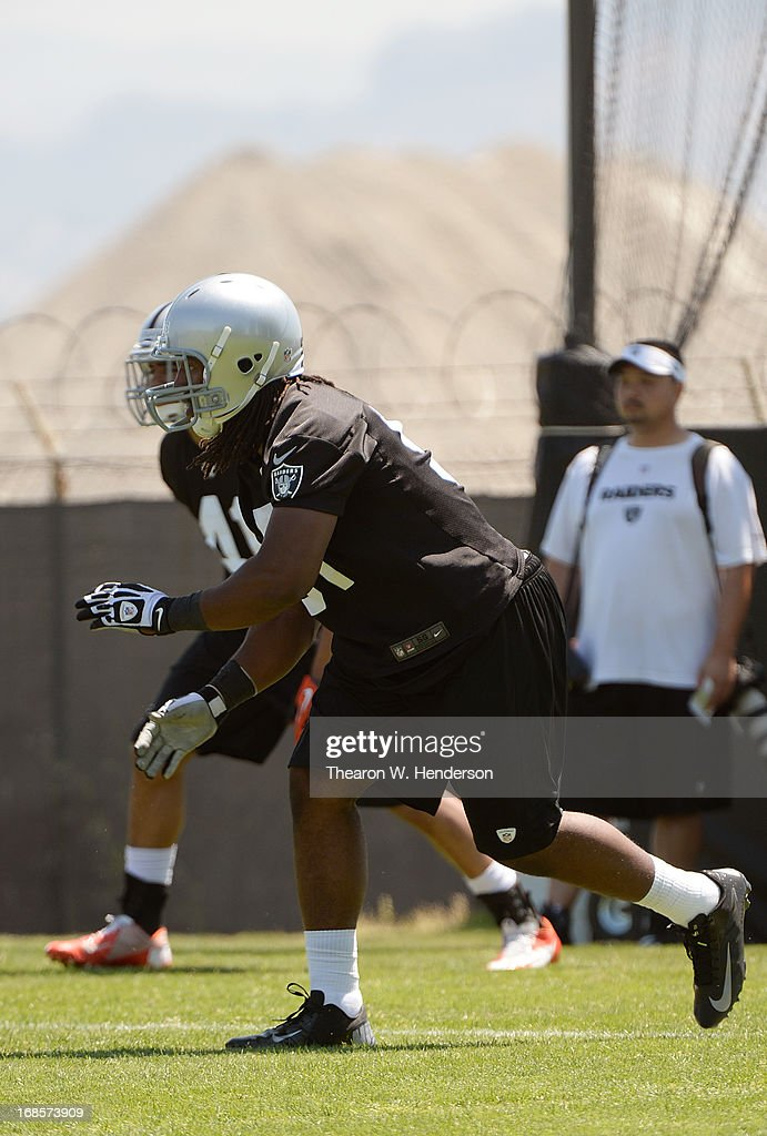 David Bass #51 of the Oakland Raiders participates in drills during Rookie Mini-Camp on May 11, 2013 in Alameda, California.